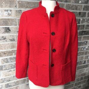 TALBOTS Red Blazer Jacket Wool Petite 6P 6Petite